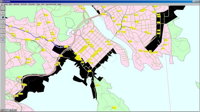 Fig. Her presenterer dGIS områder rundt Kristiansand sentrum.