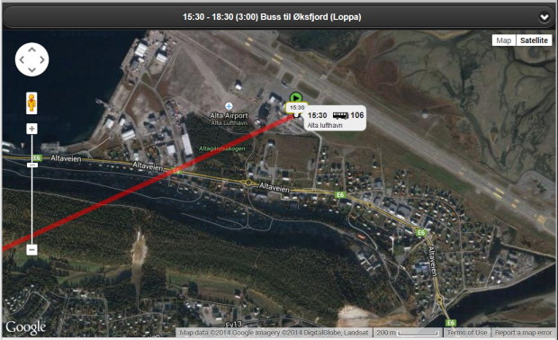 Vegnett og satelittbilder kombineres.