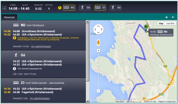 Dagens kartvisning av reiseforslag (versjon 3.0 og 3.1)